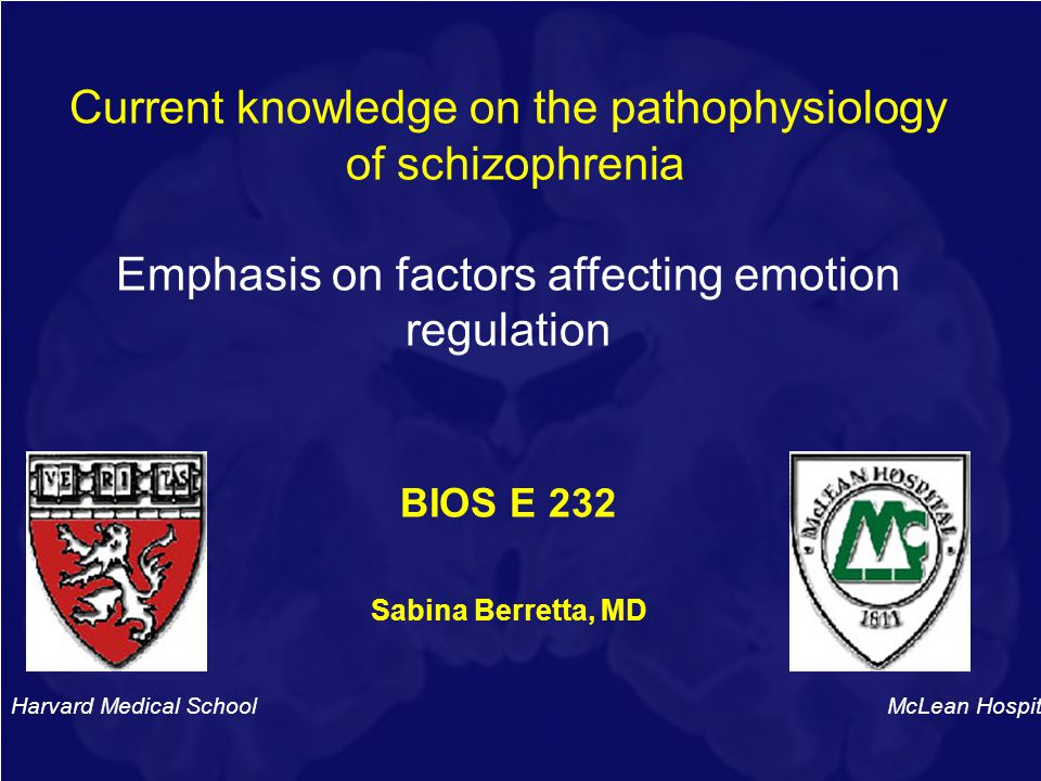 Current knowledge on the pathophysiology of schizophrenia Emphasis on factors affecting emotion regulation BIOS E 232 Sabina Berretta, MD Harvard Medi