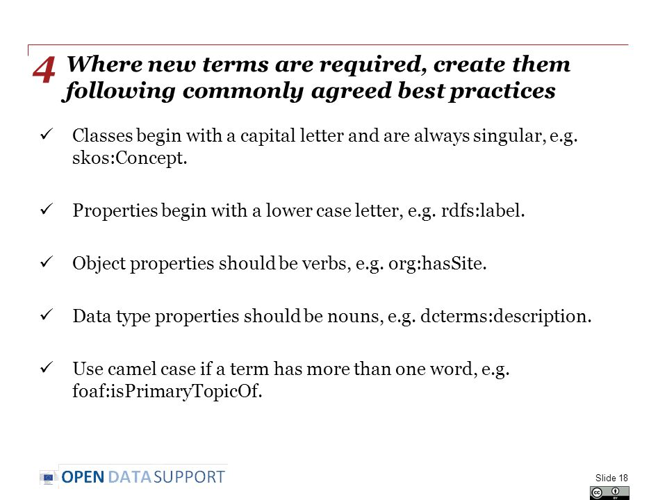 Where new terms are required, create them following commonly agreed best practices Classes begin with a capital letter and are always singular, e.g.