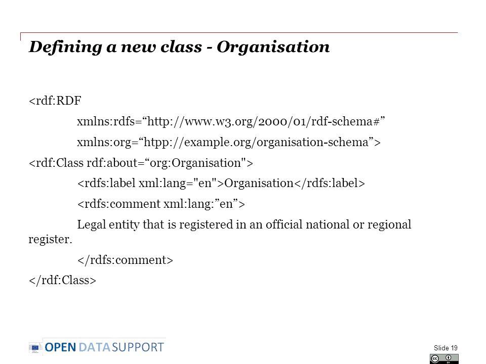 "Defining a new class - Organisation <rdf:RDF xmlns:rdfs=""http://www.w3.org/2000/01/rdf-schema#"" xmlns:org=""htpp://example.org/organisation-schema""> Or"