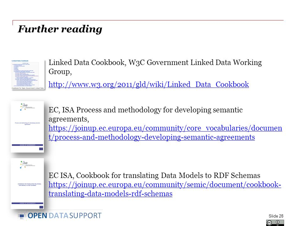 Further reading Linked Data Cookbook, W3C Government Linked Data Working Group, http://www.w3.org/2011/gld/wiki/Linked_Data_Cookbook EC, ISA Process and methodology for developing semantic agreements, https://joinup.ec.europa.eu/community/core_vocabularies/documen t/process-and-methodology-developing-semantic-agreements https://joinup.ec.europa.eu/community/core_vocabularies/documen t/process-and-methodology-developing-semantic-agreements EC ISA, Cookbook for translating Data Models to RDF Schemas https://joinup.ec.europa.eu/community/semic/document/cookbook- translating-data-models-rdf-schemas https://joinup.ec.europa.eu/community/semic/document/cookbook- translating-data-models-rdf-schemas Slide 28
