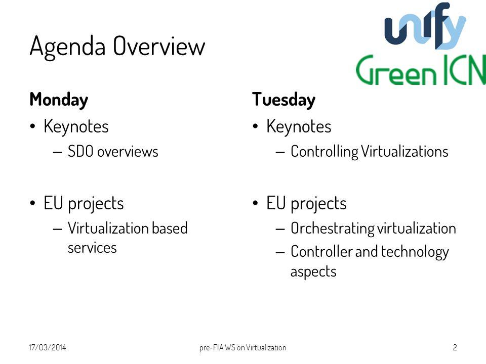 Agenda Overview Monday Keynotes – SDO overviews EU projects – Virtualization based services Tuesday Keynotes – Controlling Virtualizations EU projects – Orchestrating virtualization – Controller and technology aspects 17/03/2014pre-FIA WS on Virtualization2