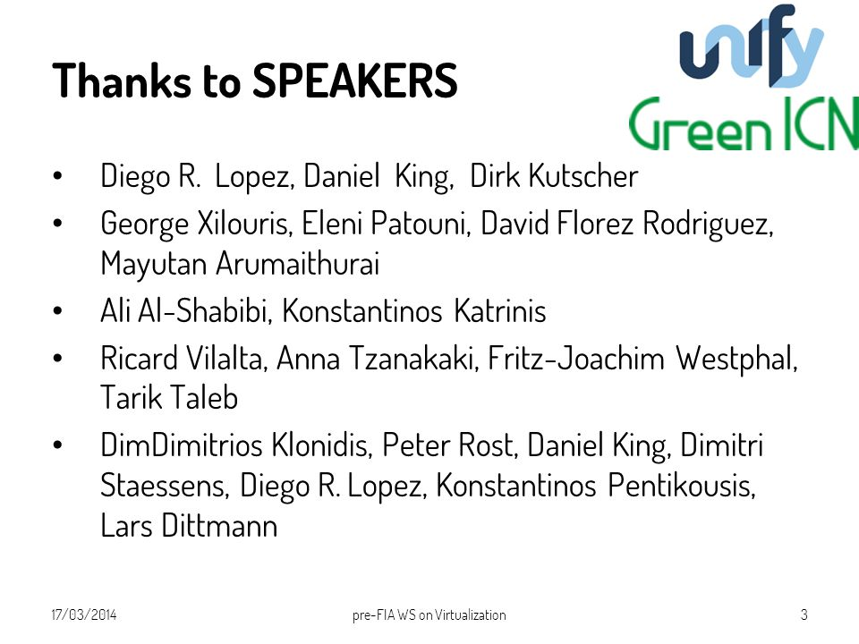Thanks to SPEAKERS Diego R.