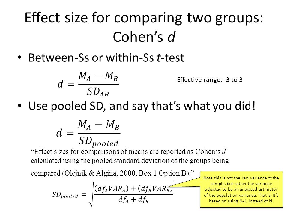 """Effect size for comparing two groups: Cohen's d Between-Ss or within-Ss t-test """"Effect sizes for comparisons of means are reported as Cohen's d calcul"""