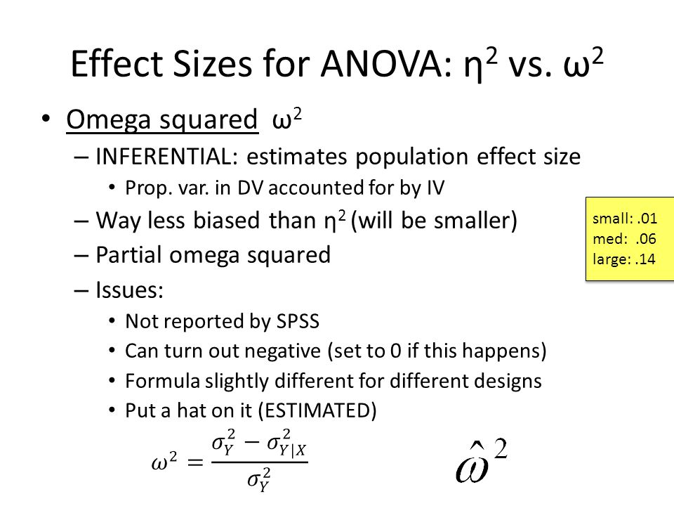 Effect Sizes for ANOVA: η 2 vs. ω 2 Omega squared ω 2 – INFERENTIAL: estimates population effect size Prop. var. in DV accounted for by IV – Way less