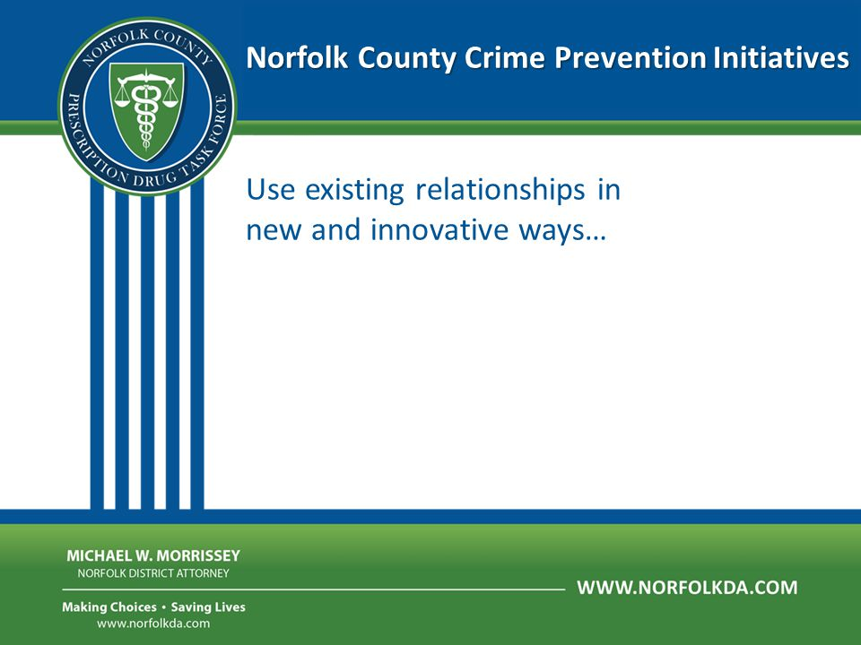 Norfolk County Crime Prevention Initiatives Use existing relationships in new and innovative ways…