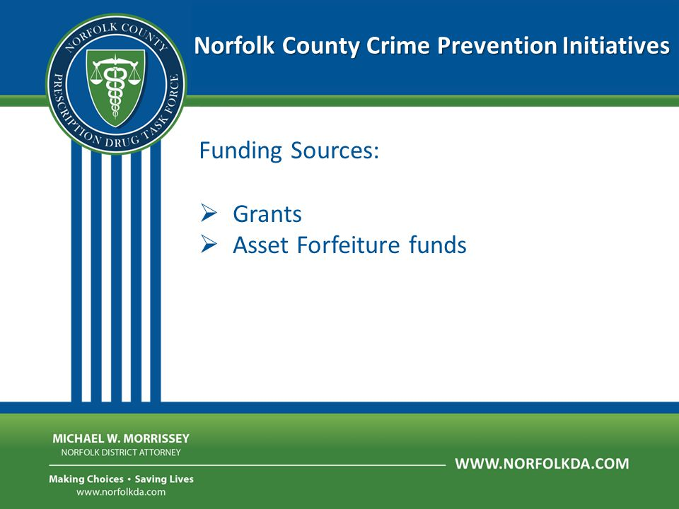 Norfolk County Crime Prevention Initiatives Information Sharing: The Norfolk District Attorney's Office is an agency which recognizes and protects the sensitive nature of many different kinds of data, making information sharing for prevention purposes easier.