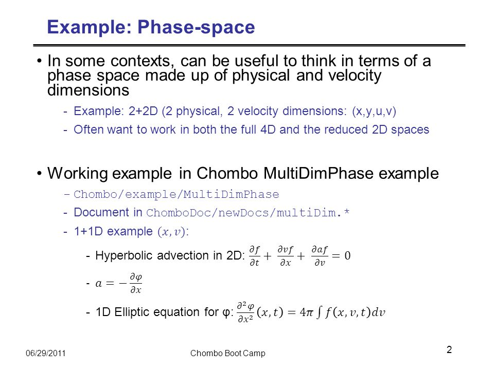 06/29/2011Chombo Boot Camp Example: Phase-space 2