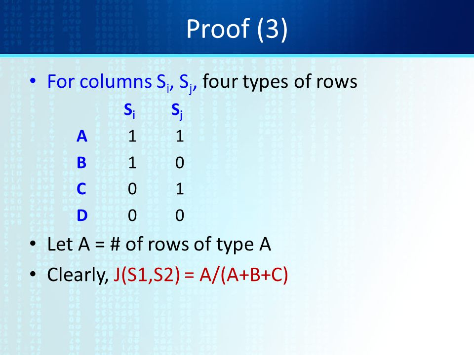 Proof (3) For columns S i, S j, four types of rows S i S j A 1 1 B 1 0 C 0 1 D 0 0 Let A = # of rows of type A Clearly, J(S1,S2) = A/(A+B+C)