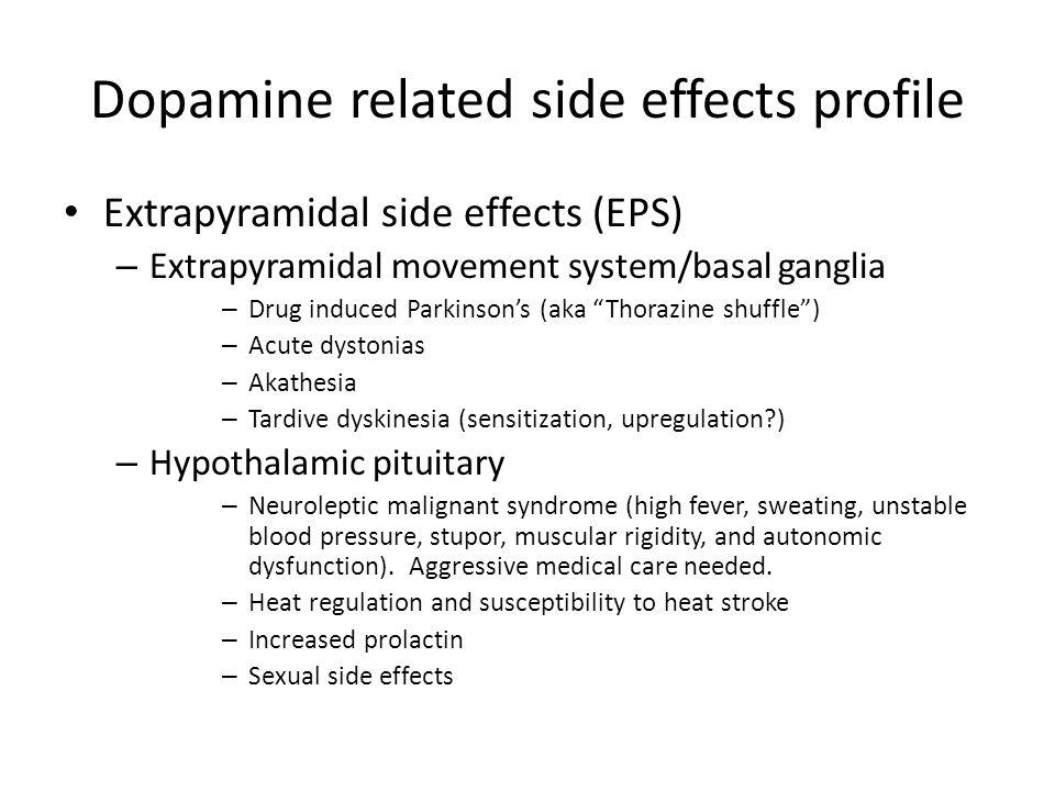 Dopamine related side effects profile Extrapyramidal side effects (EPS) – Extrapyramidal movement system/basal ganglia – Drug induced Parkinson's (aka