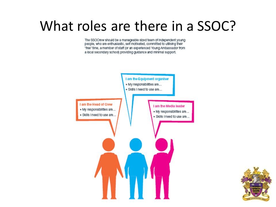 What roles are there in a SSOC?