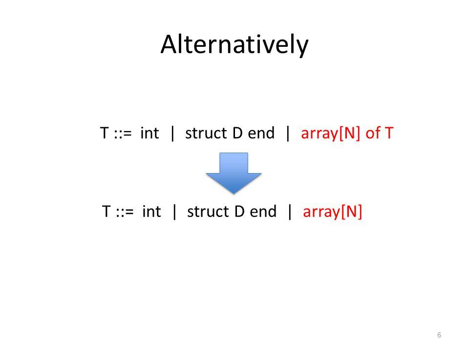 Alternatively 6 T ::= int   struct D end   array[N] T ::= int   struct D end   array[N] of T