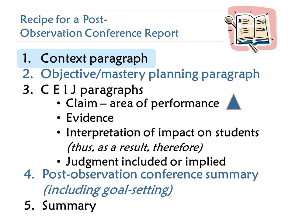 Claim – area of performance Evidence Interpretation of impact on students ( thus, as a result, therefore) Judgment included or implied Recipe for a Po