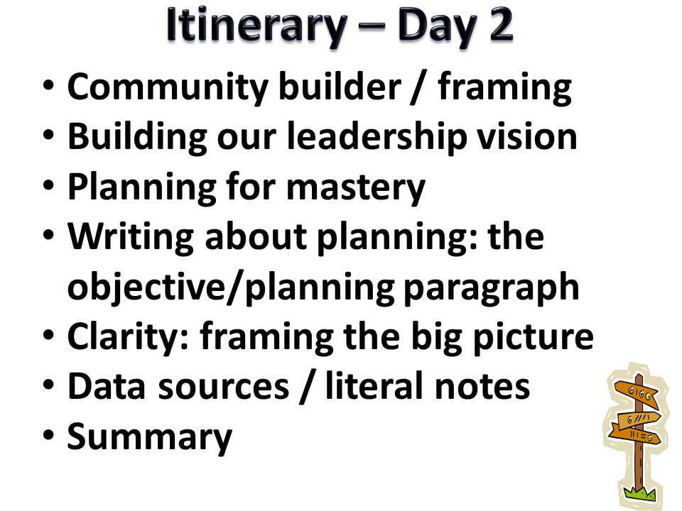 Community builder / framing Building our leadership vision Planning for mastery Writing about planning: the objective/planning paragraph Clarity: fram