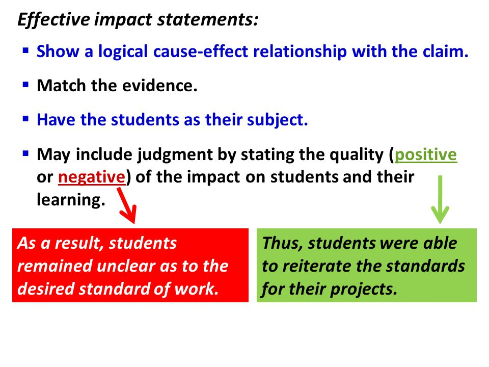 Effective impact statements: As a result, students remained unclear as to the desired standard of work. Thus, students were able to reiterate the stan