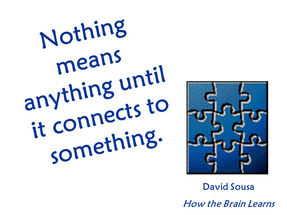 Nothing means anything until it connects to something. David Sousa How the Brain Learns