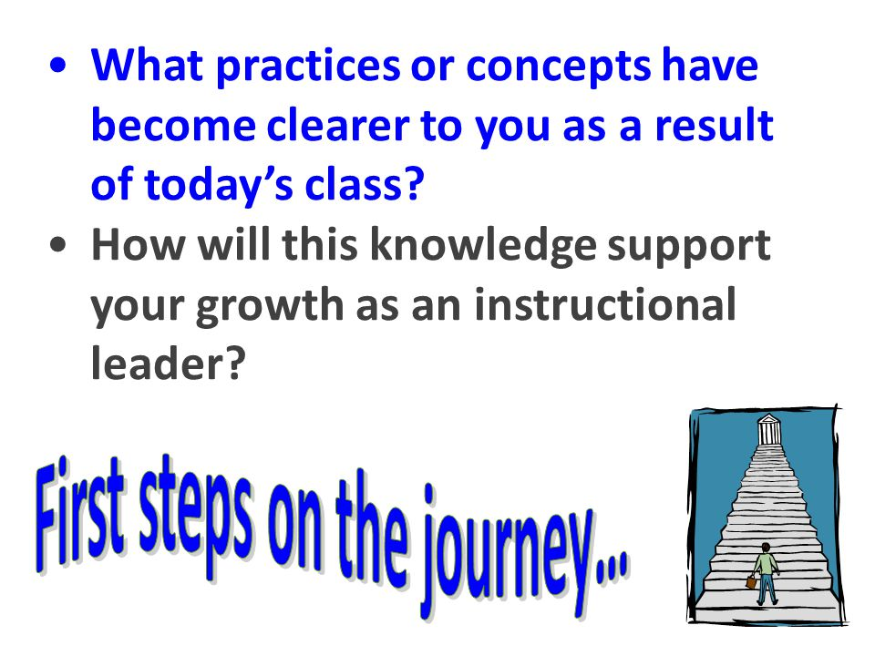 The knowledge base on teaching / triangle (10) Scripting – what it is, why we do it (8) The components of a report AKA the recipe (5) CEIJ (5) The six standards of the PGS (3) Practices or concepts that have become clearer to you and that will support your growth on the first steps on the journey :