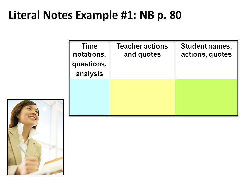 Literal Notes Example #1: NB p. 80