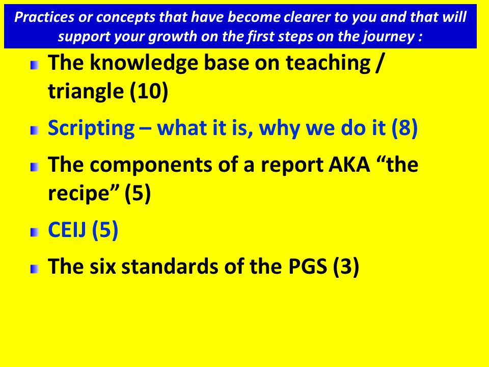 "The knowledge base on teaching / triangle (10) Scripting – what it is, why we do it (8) The components of a report AKA ""the recipe"" (5) CEIJ (5) The s"