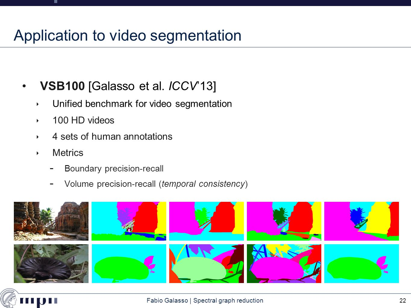 Fabio Galasso | Spectral graph reduction Application to video segmentation VSB100 [Galasso et al.