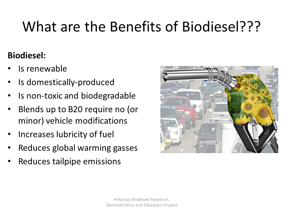 What are the Benefits of Biodiesel??? Biodiesel: Is renewable Is domestically-produced Is non-toxic and biodegradable Blends up to B20 require no (or