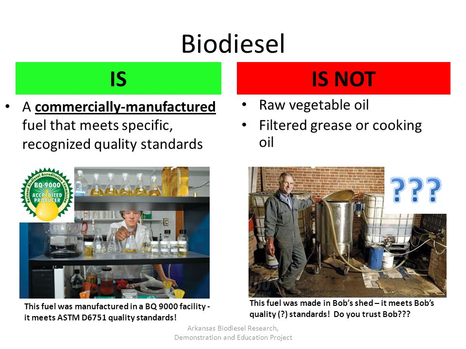 Biodiesel IS A commercially-manufactured fuel that meets specific, recognized quality standards IS NOT Raw vegetable oil Filtered grease or cooking oi