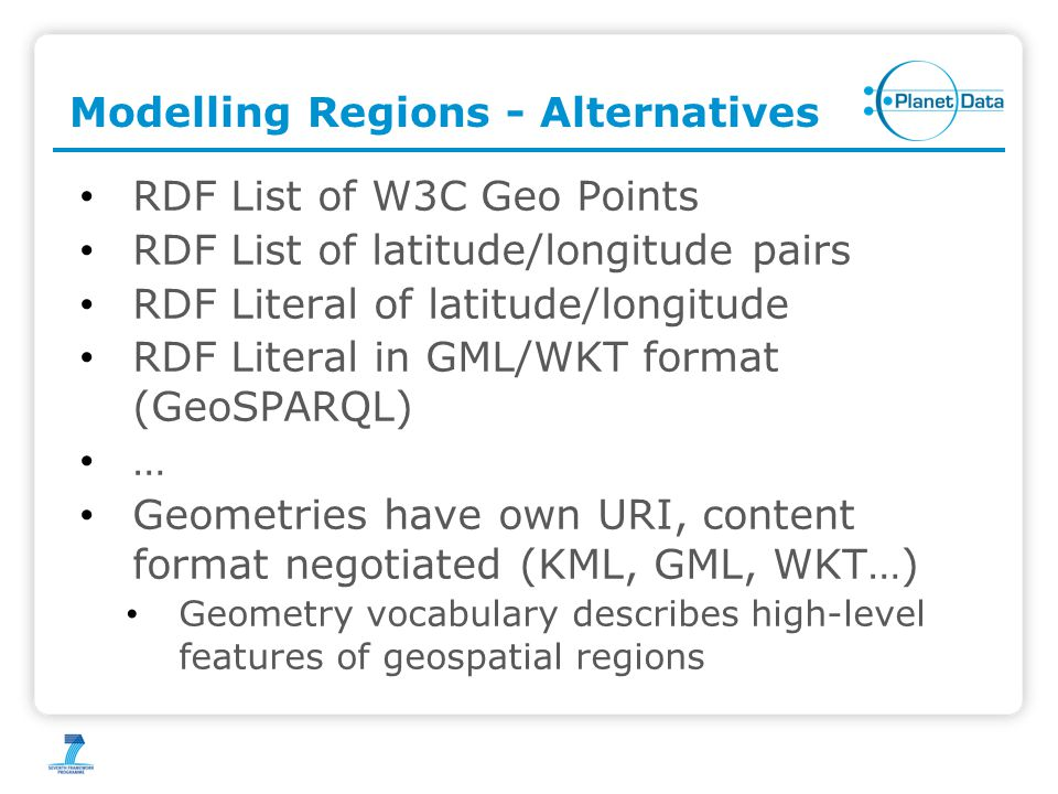 Modelling Regions - Alternatives RDF List of W3C Geo Points RDF List of latitude/longitude pairs RDF Literal of latitude/longitude RDF Literal in GML/WKT format (GeoSPARQL) … Geometries have own URI, content format negotiated (KML, GML, WKT…) Geometry vocabulary describes high-level features of geospatial regions