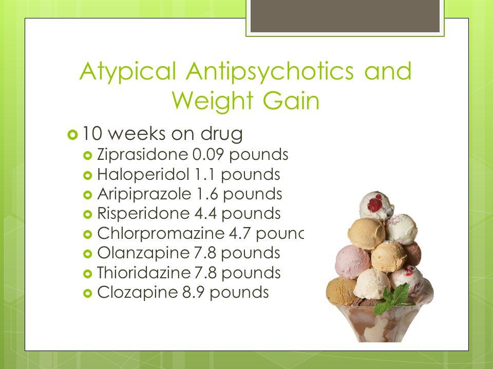 Atypical Antipsychotics and Weight Gain  10 weeks on drug  Ziprasidone 0.09 pounds  Haloperidol 1.1 pounds  Aripiprazole 1.6 pounds  Risperidone