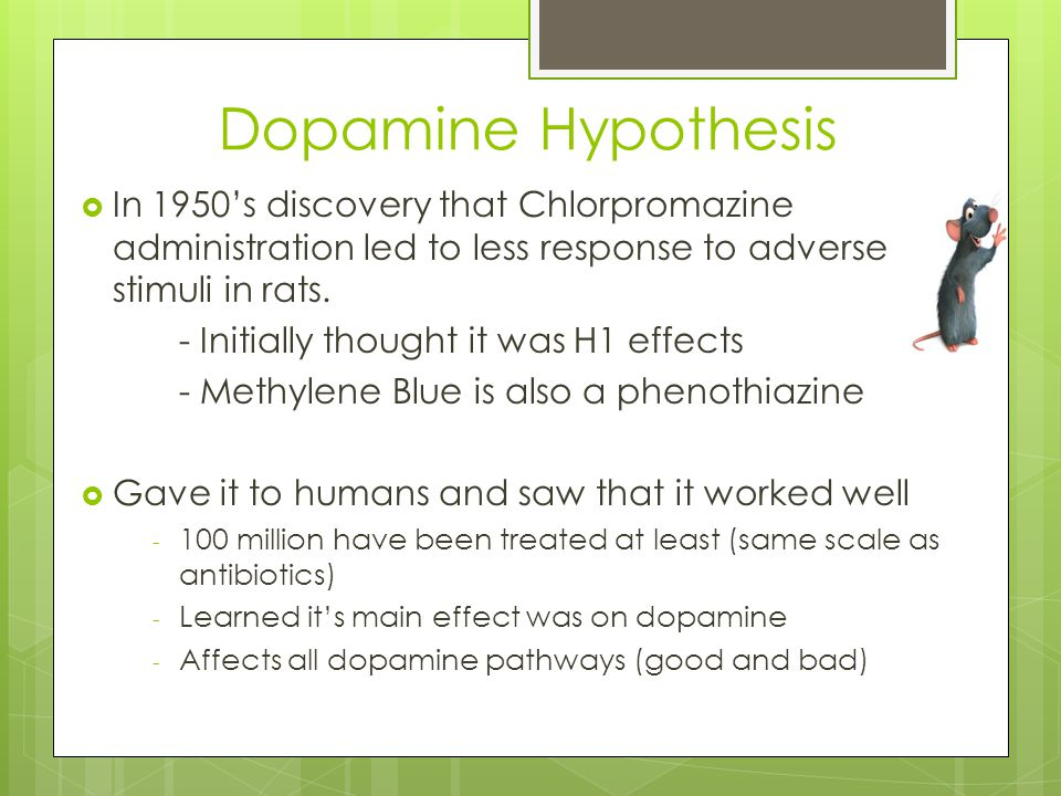 Dopamine Hypothesis  In 1950's discovery that Chlorpromazine administration led to less response to adverse stimuli in rats. - Initially thought it w