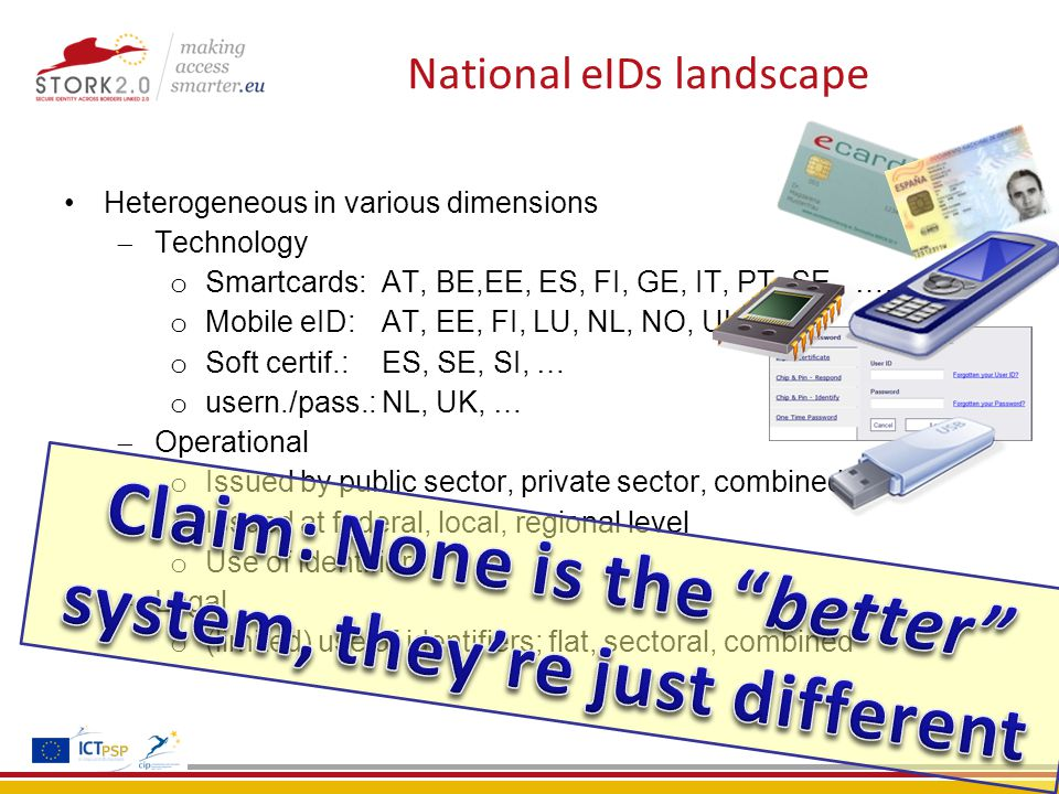 National eIDs landscape Heterogeneous in various dimensions  Technology o Smartcards: AT, BE,EE, ES, FI, GE, IT, PT, SE, …..