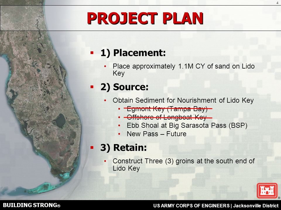 BUILDING STRONG ® US ARMY CORPS OF ENGINEERS | Jacksonville District SOUTH LIDO KEY GROINS  What are the plans for the groins.