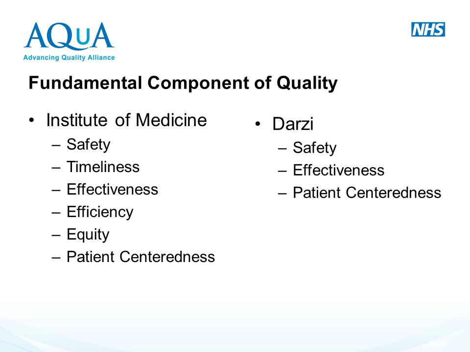 Fundamental Component of Quality Fundamental Institute of Medicine –Safety –Timeliness –Effectiveness –Efficiency –Equity –Patient Centeredness Darzi