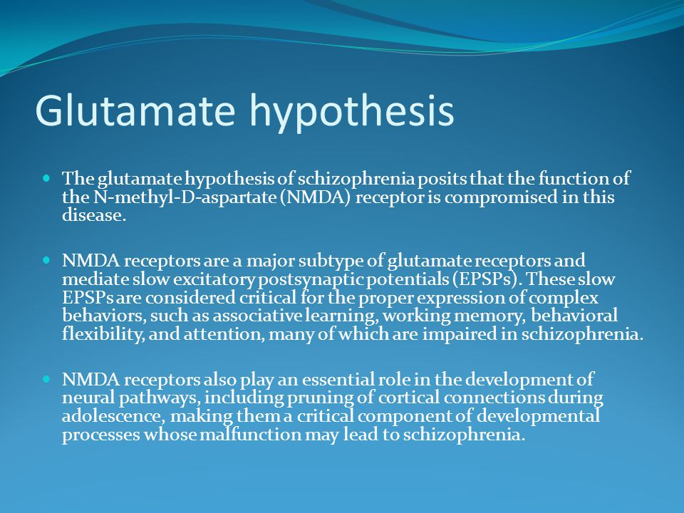 Glutamate hypothesis The glutamate hypothesis of schizophrenia posits that the function of the N-methyl-D-aspartate (NMDA) receptor is compromised in this disease.