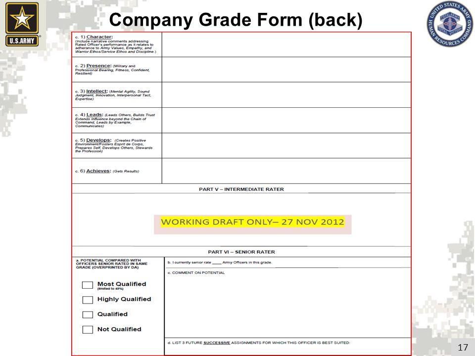 17 Company Grade Form (back)