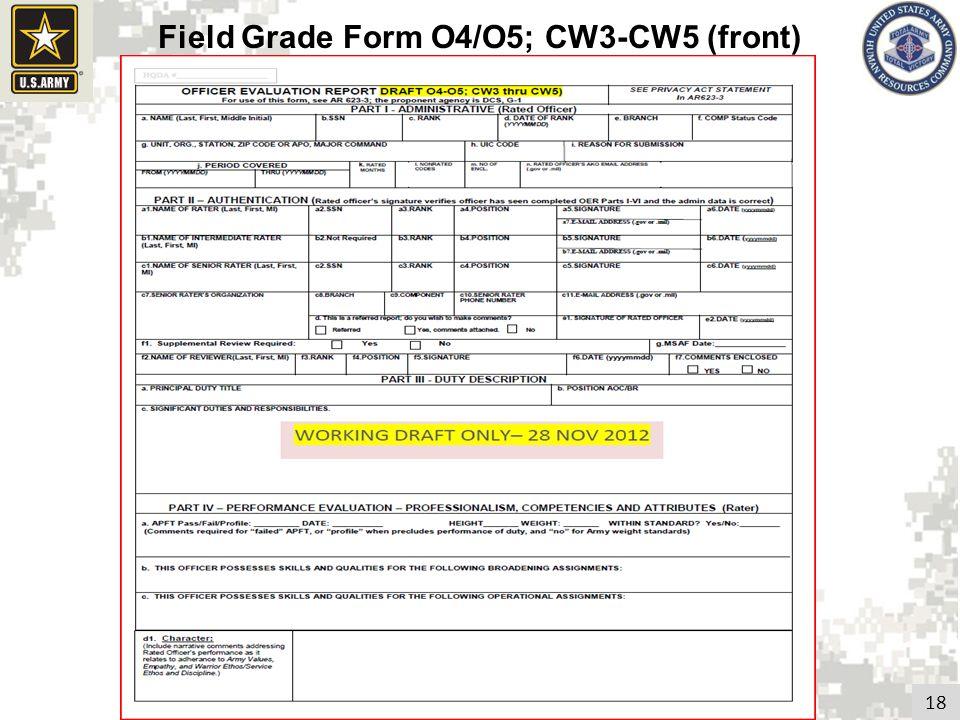 18 Field Grade Form O4/O5; CW3-CW5 (front)