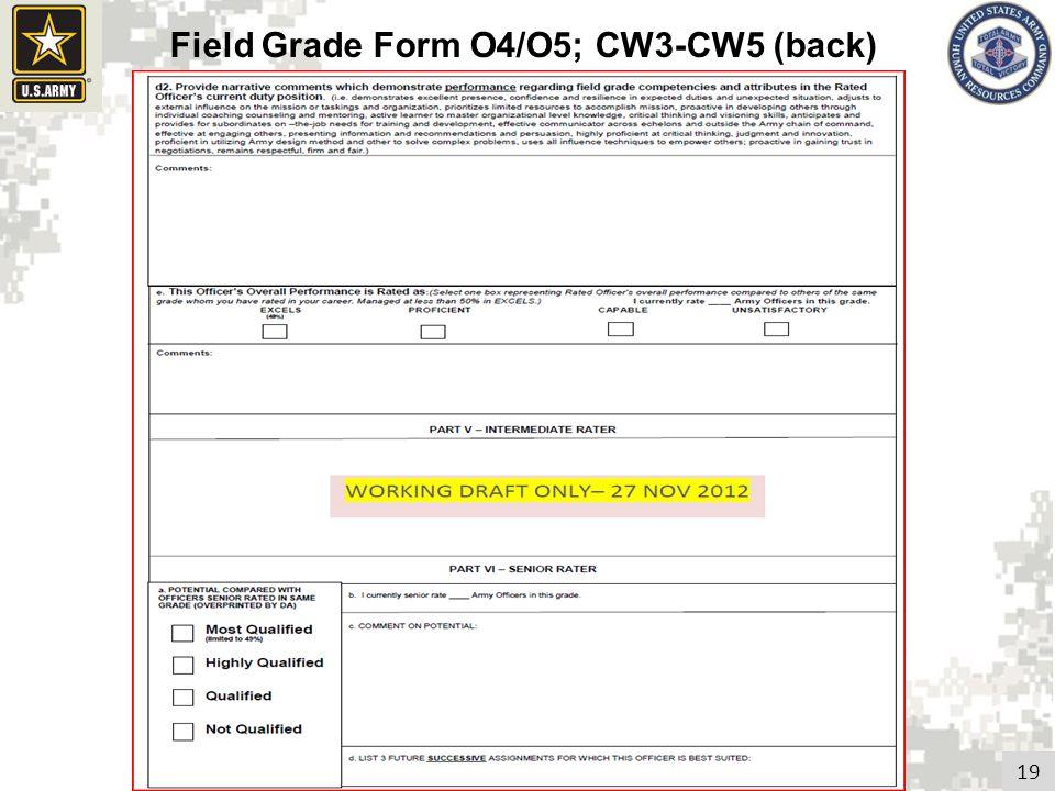 19 Field Grade Form O4/O5; CW3-CW5 (back)