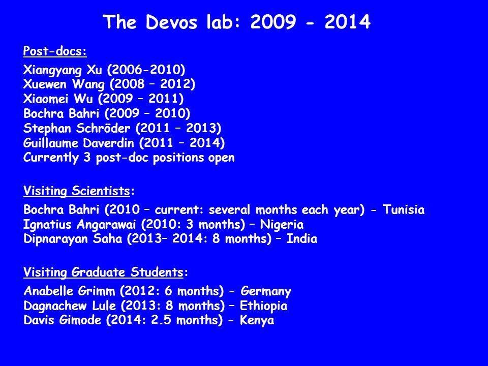 The Devos lab: 2009 - 2014 Post-docs: Xiangyang Xu (2006-2010) Xuewen Wang (2008 – 2012) Xiaomei Wu (2009 – 2011) Bochra Bahri (2009 – 2010) Stephan S