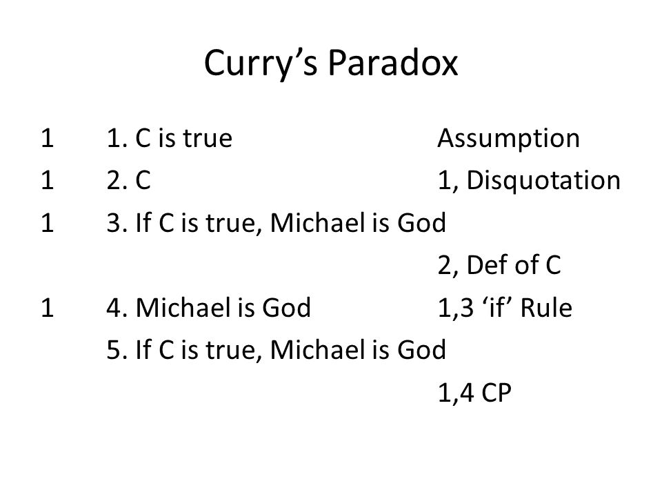 Curry's Paradox 11. C is trueAssumption 12. C1, Disquotation 13. If C is true, Michael is God 2, Def of C 14. Michael is God1,3 'if' Rule 5. If C is t