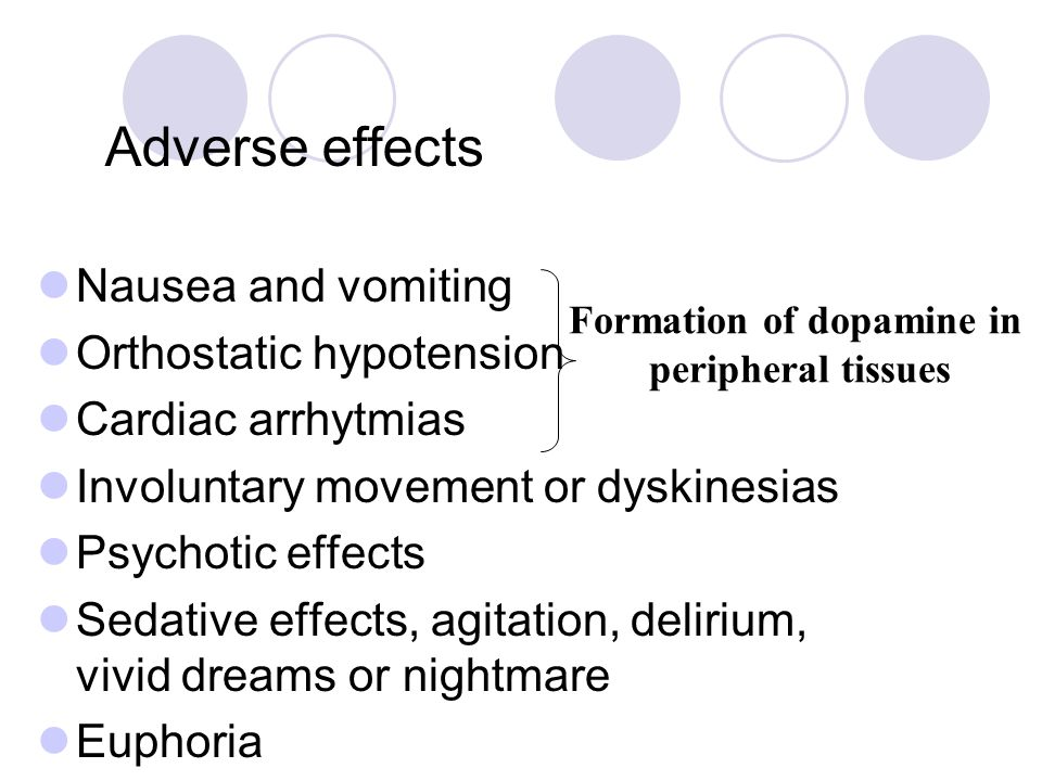 Adverse effects Nausea and vomiting Orthostatic hypotension Cardiac arrhytmias Involuntary movement or dyskinesias Psychotic effects Sedative effects,