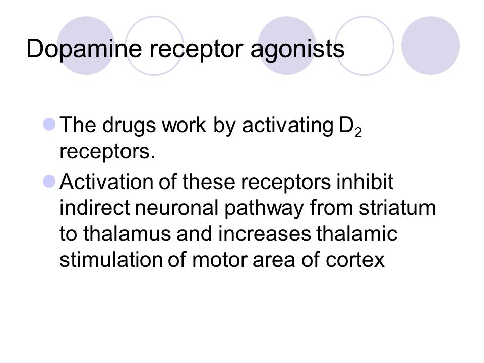 Dopamine receptor agonists The drugs work by activating D 2 receptors. Activation of these receptors inhibit indirect neuronal pathway from striatum t