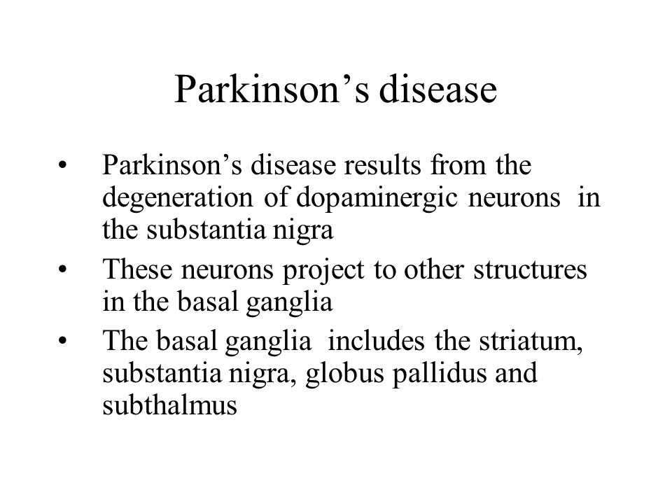 Parkinson's disease Parkinson's disease is characterized by resting tremor, rigidity, akinesia (difficulty in initiation of movement) and bradykinesia (slowness in the execution of movement).