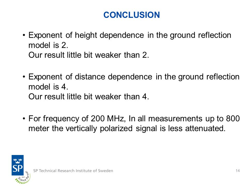 14 CONCLUSION Exponent of height dependence in the ground reflection model is 2.