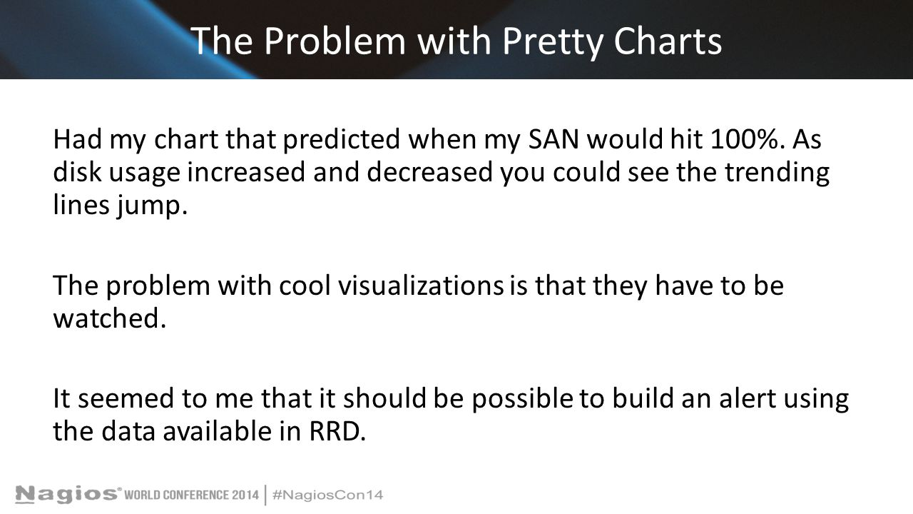 The Problem with Pretty Charts Had my chart that predicted when my SAN would hit 100%.