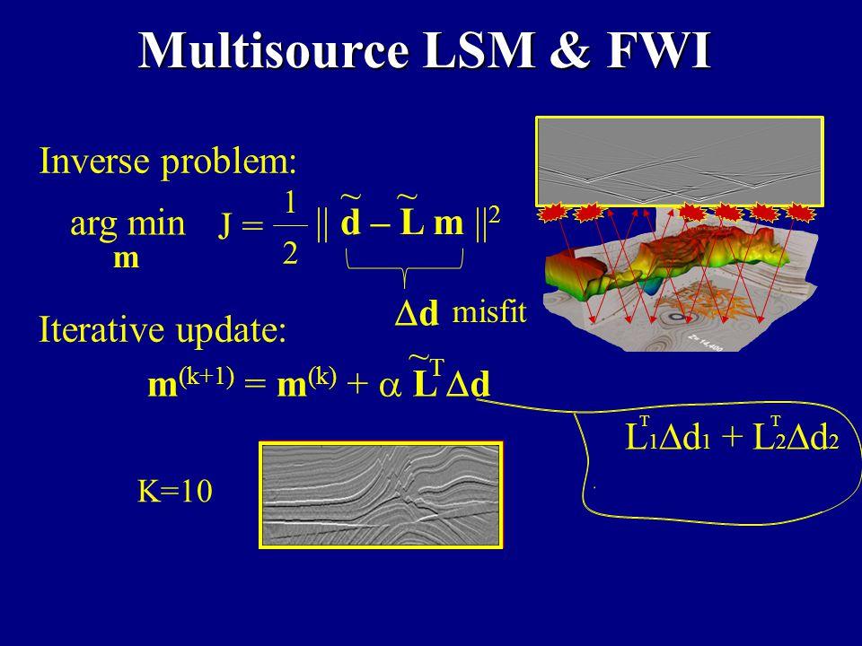 K=1 K=10 Multisource LSM & FWI Inverse problem: || d – L m || 2 ~~ 1 2 J = arg min m dd misfit m (k+1) = m (k) +  L  d ~T~T Iterative update: + L