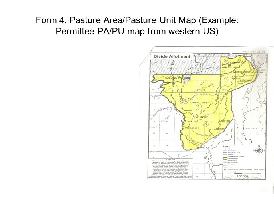 Form 4. Pasture Area/Pasture Unit Map (Example: Permittee PA/PU map from western US)
