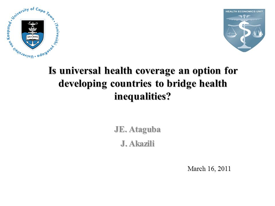 Is universal health coverage an option for developing countries to bridge health inequalities.
