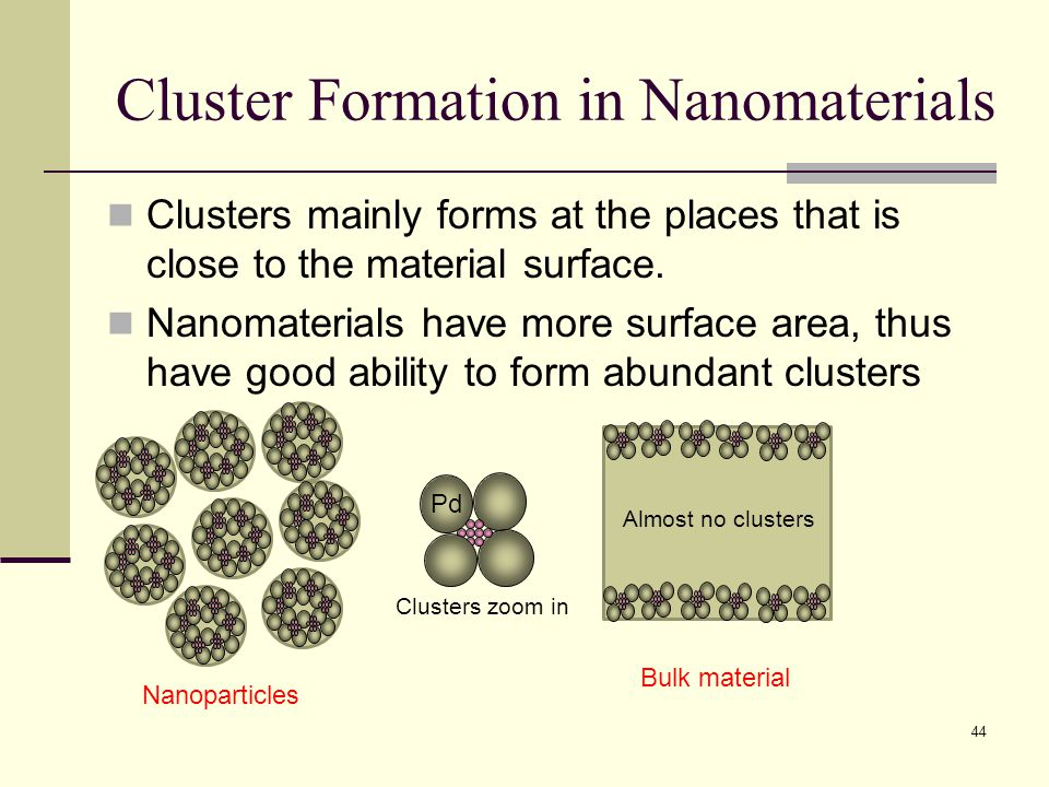 Cluster Formation in Nanomaterials Clusters mainly forms at the places that is close to the material surface. Nanomaterials have more surface area, th