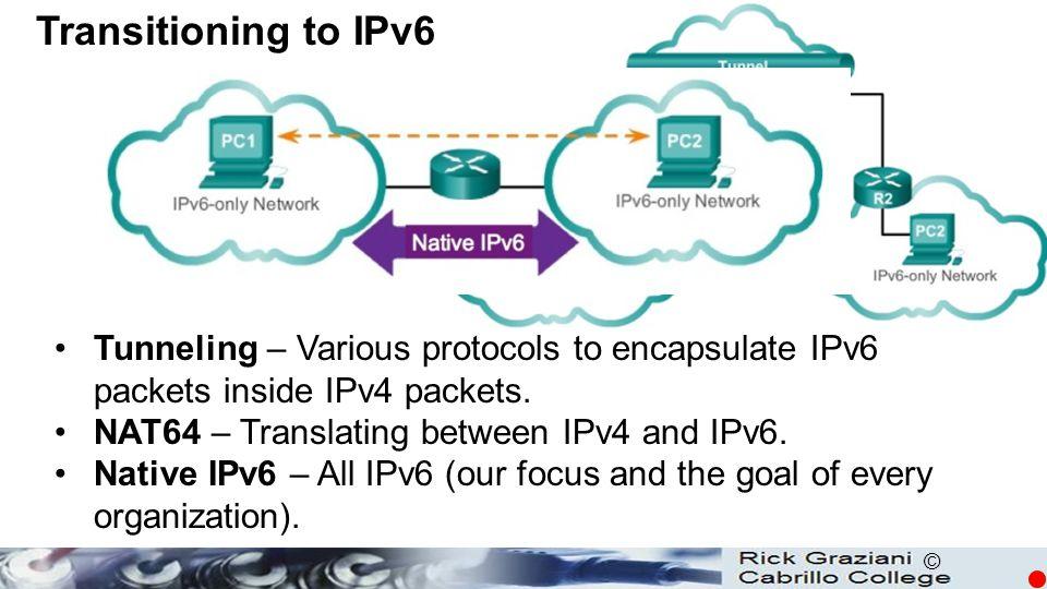 © Tunneling – Various protocols to encapsulate IPv6 packets inside IPv4 packets. NAT64 – Translating between IPv4 and IPv6. Native IPv6 – All IPv6 (ou