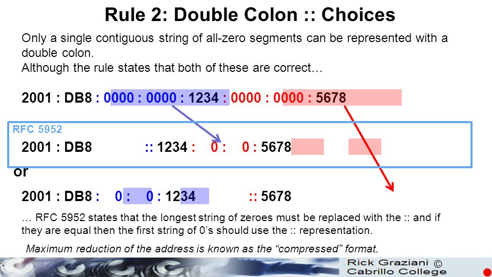 © Only a single contiguous string of all-zero segments can be represented with a double colon. Although the rule states that both of these are correct