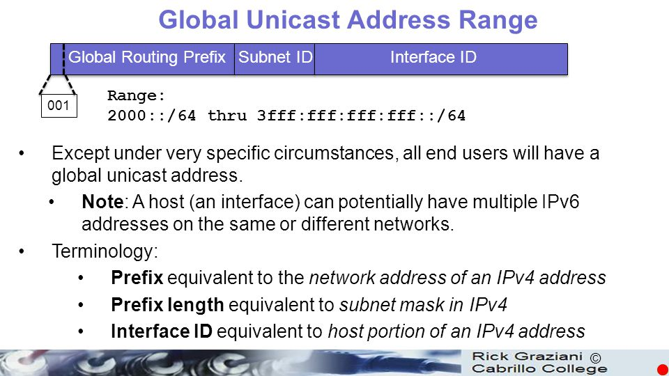 © Global Unicast Address Range Except under very specific circumstances, all end users will have a global unicast address. Note: A host (an interface)