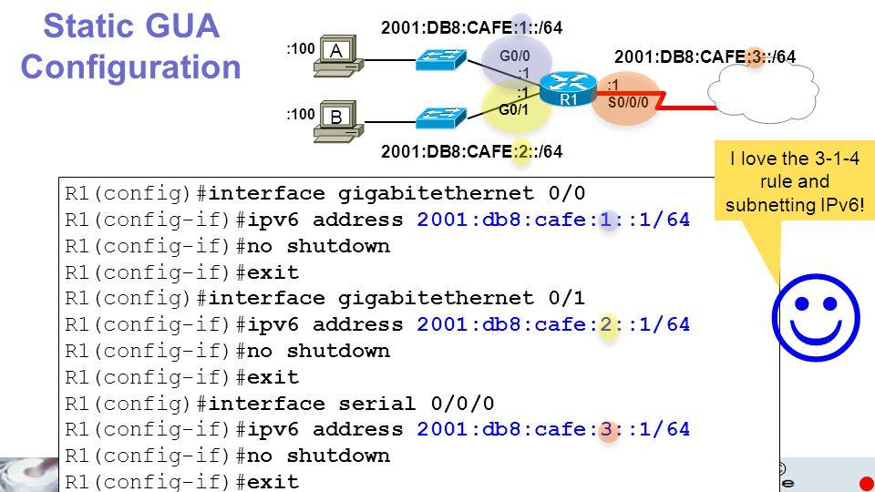 © 2001:DB8:CAFE:3::/64 2001:DB8:CAFE:1::/64 2001:DB8:CAFE:2::/64 G0/0 :1 G0/1 :1 S0/0/0 :100 Static GUA Configuration R1 A B R1(config)#interface giga